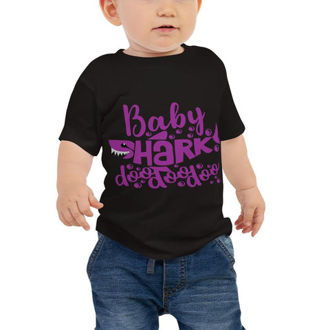 Image of Baby Shark Purple Baby Jersey Short Sleeve Tee Marks'Marketplace Black 6-12m