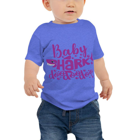 Image of Baby Shark Purple Baby Jersey Short Sleeve Tee Marks'Marketplace Heather Columbia Blue 6-12m