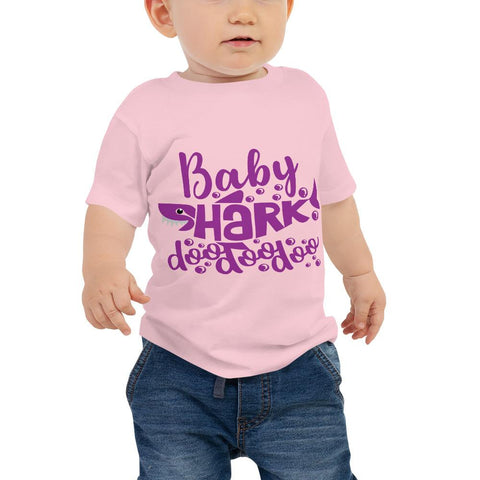 Image of Baby Shark Purple Baby Jersey Short Sleeve Tee Marks'Marketplace Pink 6-12m