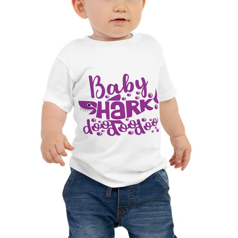 Image of Baby Shark Purple Baby Jersey Short Sleeve Tee Marks'Marketplace White 6-12m