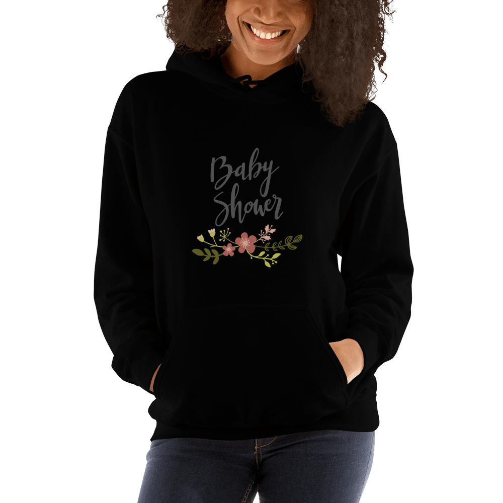 baby shower Women Hooded Sweatshirt Marks'Marketplace Black S