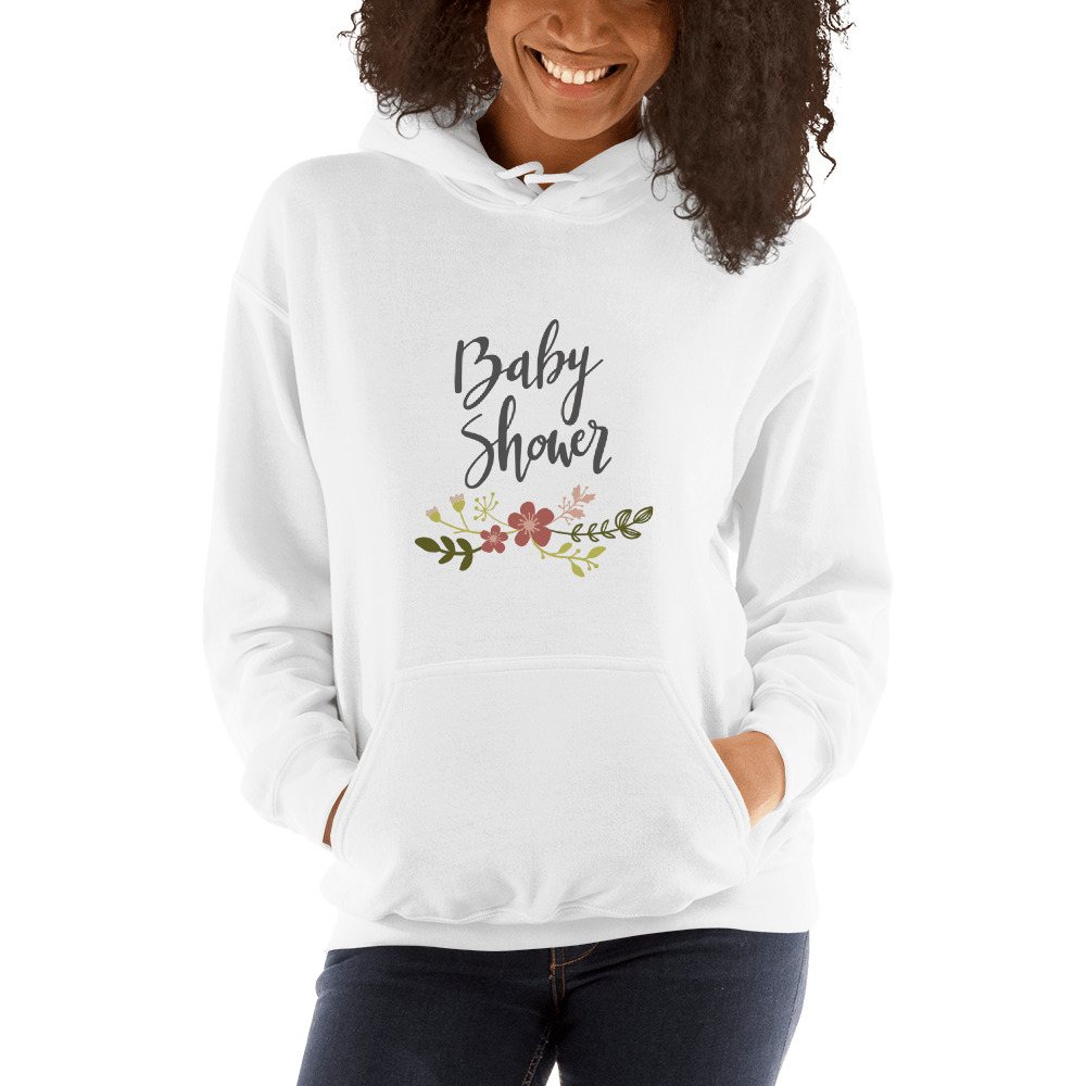 baby shower Women Hooded Sweatshirt Marks'Marketplace White S