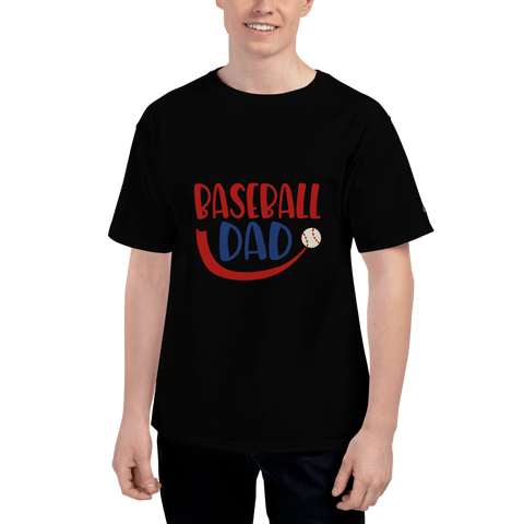 Image of BASEBALL DAD Men's Champion T-Shirt Marks'Marketplace Black S