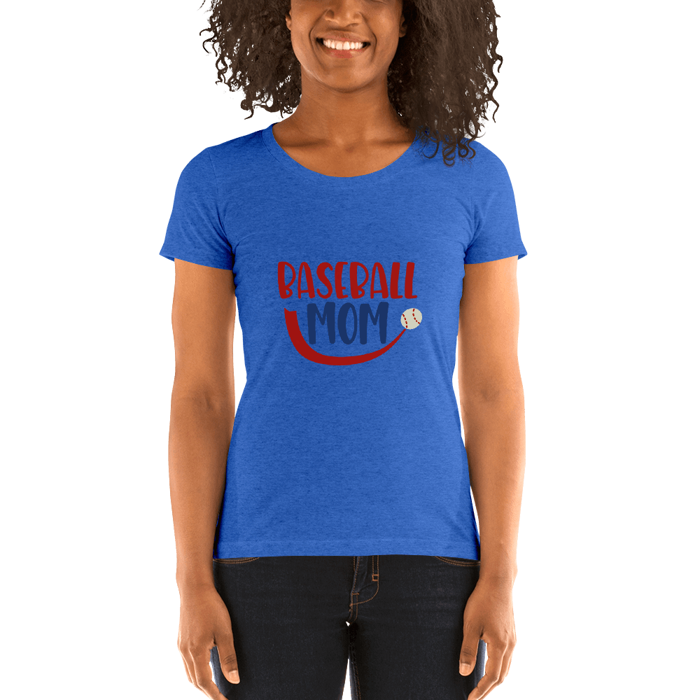 BASEBALL MOM Ladies' short sleeve t-shirt Marks'Marketplace True Royal Triblend S