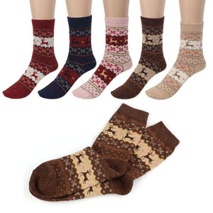 Christmas Deer Moose Design Warm Wool Female Socks