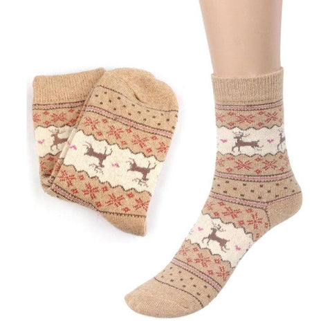 Image of Christmas Deer Moose Design Warm Wool Female Socks Socks Marks'Marketplace Beige