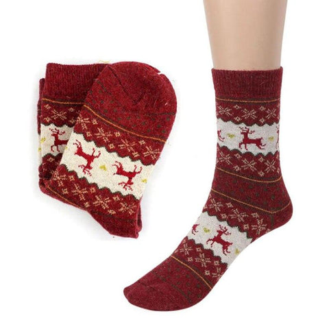 Image of Christmas Deer Moose Design Warm Wool Female Socks Socks Marks'Marketplace Blue