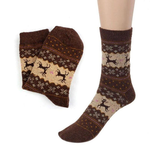 Image of Christmas Deer Moose Design Warm Wool Female Socks Socks Marks'Marketplace Brown