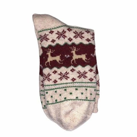 Christmas Deer Moose Design Warm Wool Female Socks Socks Marks'Marketplace Deep Sapphire