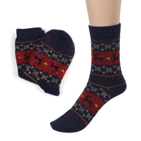 Image of Christmas Deer Moose Design Warm Wool Female Socks Socks Marks'Marketplace Fluorescence Yellow