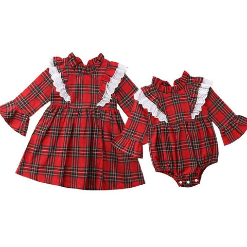 Christmas Newborn Baby Girl Clothing Red Plaid Romper Dress Dress Marks'Marketplace