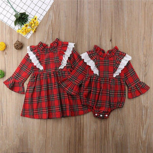 Christmas Newborn Baby Girl Clothing Red Plaid Romper Dress