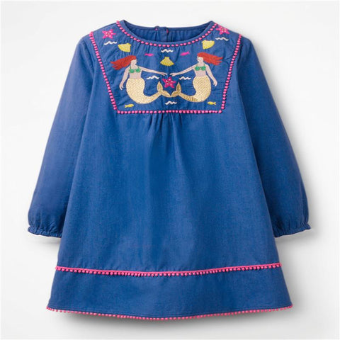 Christmas Party Dress Children Clothing Gifts Marks'Marketplace Blue 4T