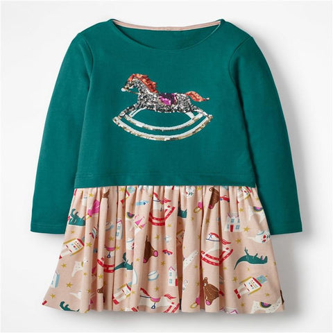 Christmas Party Dress Children Clothing Gifts Marks'Marketplace Green 4T