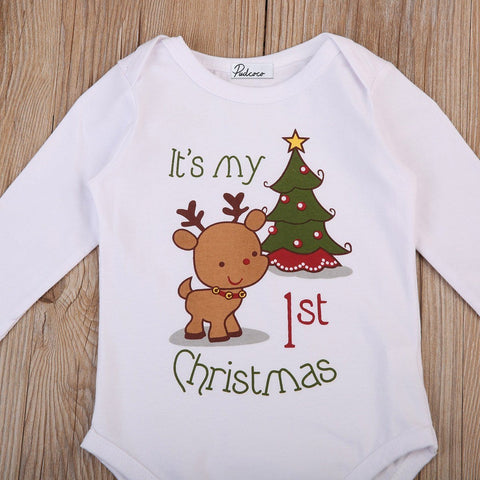 Christmas Tree and Deer Print Long Sleeves Romper Outfit Marks'Marketplace