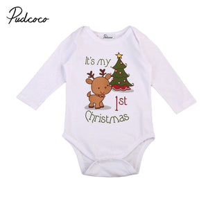 Christmas Tree and Deer Print Long Sleeves Romper Outfit Marks'Marketplace White 6M