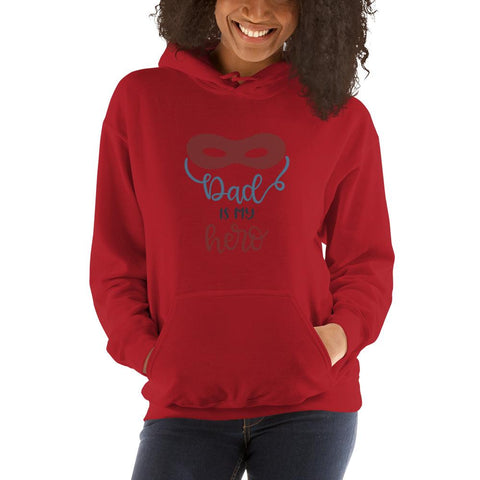 Image of Dad is my hero Women Hooded Sweatshirt Marks'Marketplace Red S
