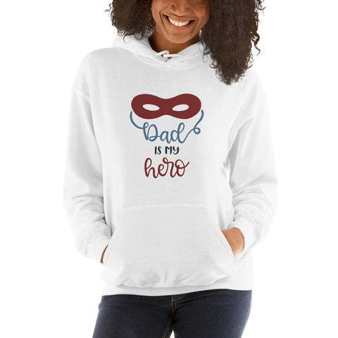 Image of Dad is my hero Women Hooded Sweatshirt Marks'Marketplace White S