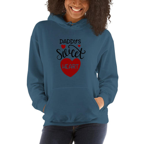 Image of Daddy's sweet heart Women Hooded Sweatshirt Marks'Marketplace Indigo Blue S