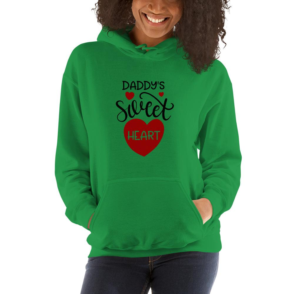 Daddy's sweet heart Women Hooded Sweatshirt Marks'Marketplace Irish Green S
