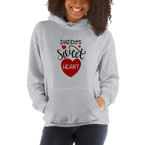 Image of Daddy's sweet heart Women Hooded Sweatshirt Marks'Marketplace Sport Grey S