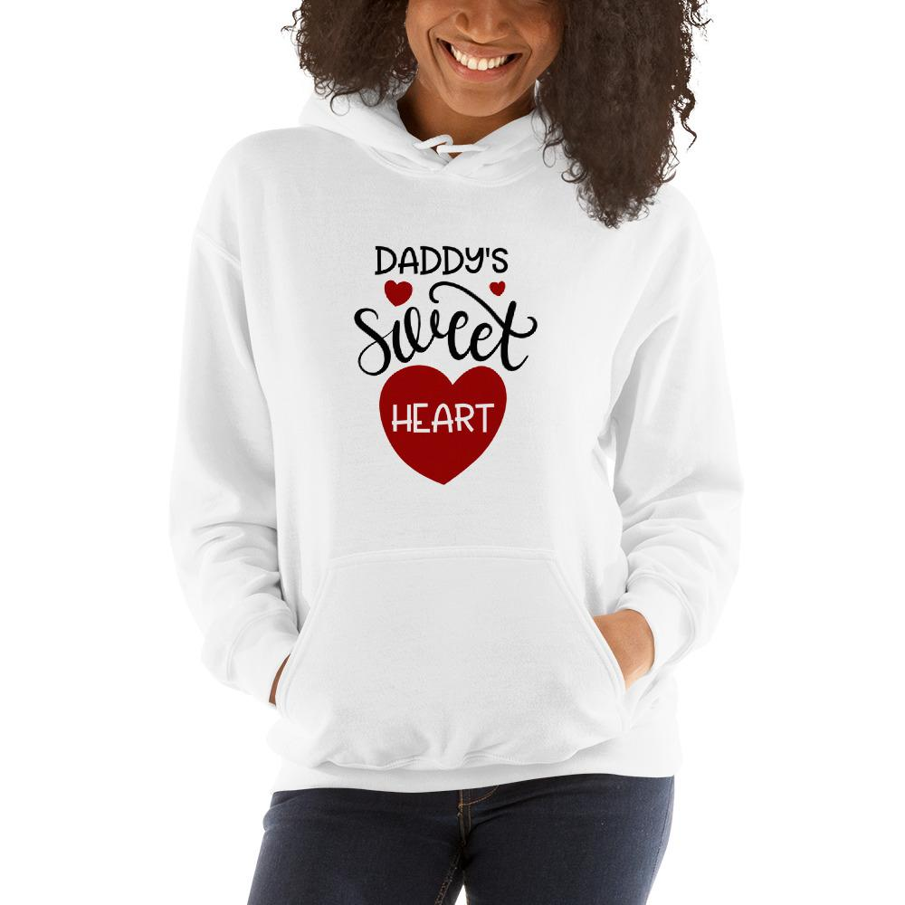 Daddy's sweet heart Women Hooded Sweatshirt Marks'Marketplace White S