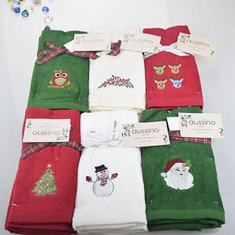 Image of Decorative Christmas Embroidered Hand Towel/Kitchen Towel Set Marks'Marketplace