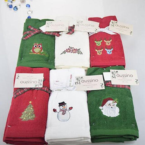 Image of Decorative Christmas Embroidered Hand Towel/Kitchen Towel Set Marks'Marketplace santa claus 30x45cm China