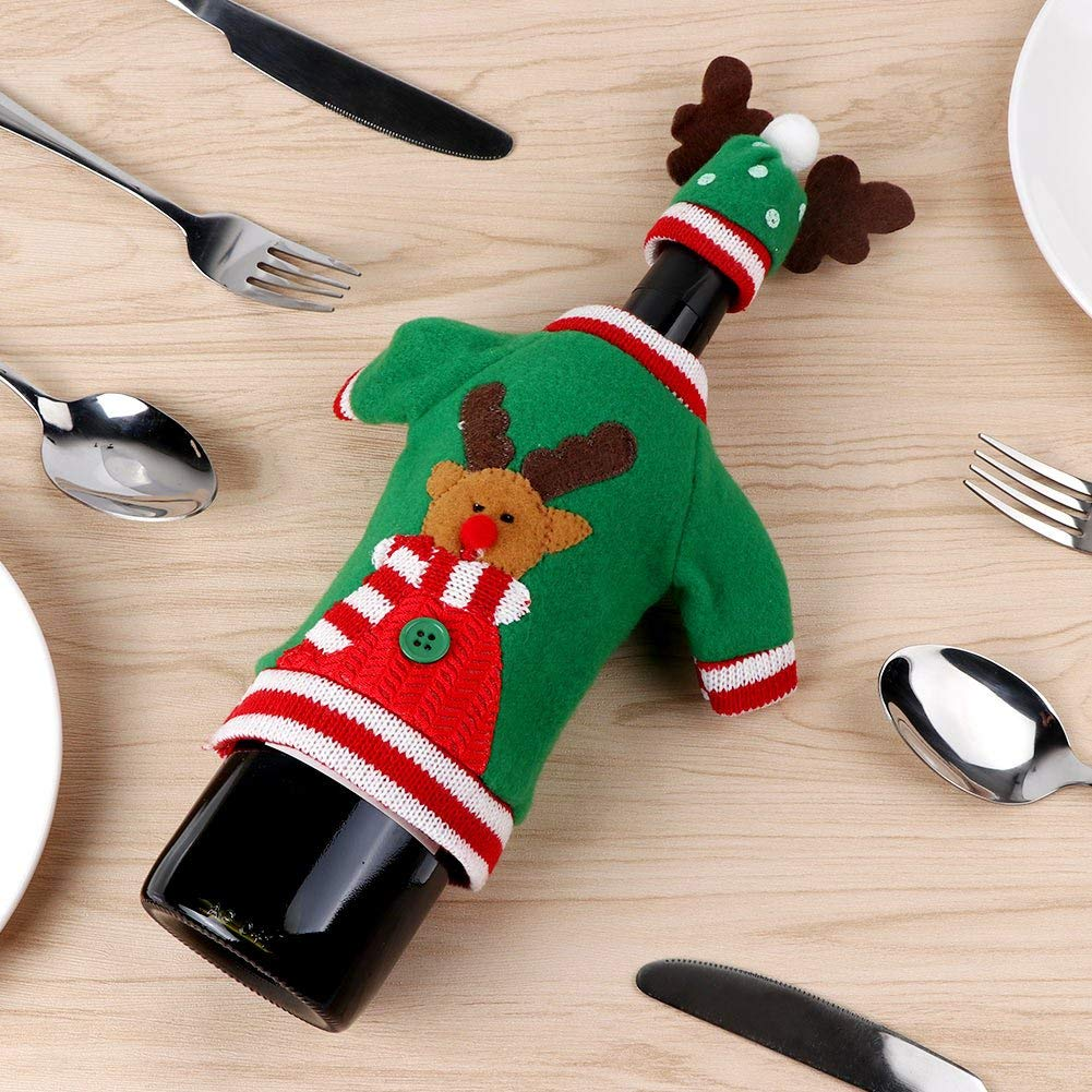 Handmade Wine Bottle Sweater for Christmas Decorations Marks'Marketplace