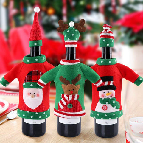 Image of Handmade Wine Bottle Sweater for Christmas Decorations Marks'Marketplace