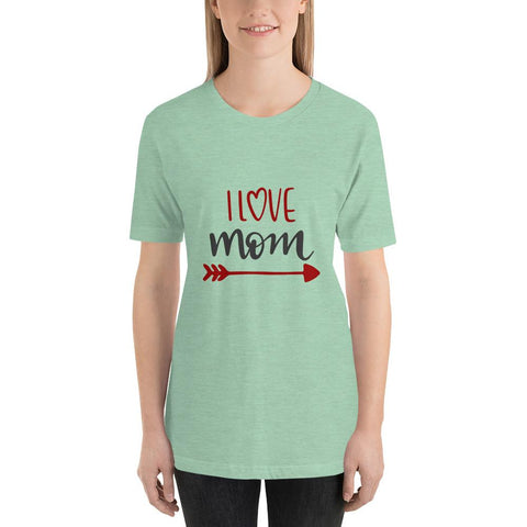 Image of I love mom Women Short-Sleeve T-Shirt Marks'Marketplace Heather Prism Mint XS