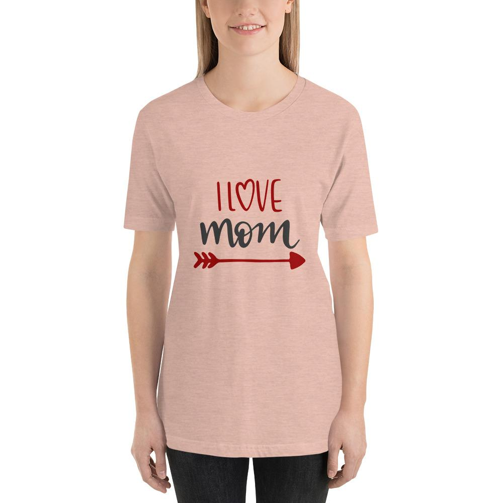 I love mom Women Short-Sleeve T-Shirt Marks'Marketplace Heather Prism Peach XS
