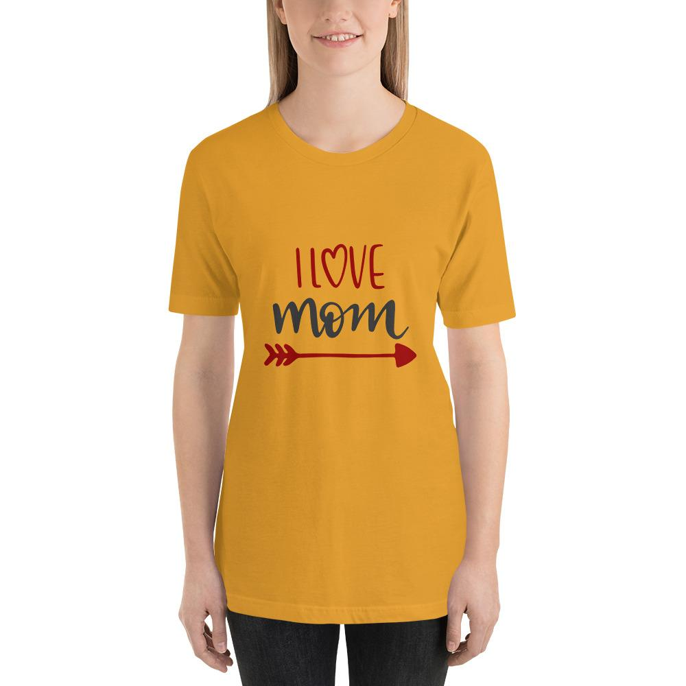 I love mom Women Short-Sleeve T-Shirt Marks'Marketplace Mustard S