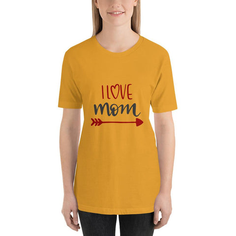 Image of I love mom Women Short-Sleeve T-Shirt Marks'Marketplace Mustard S