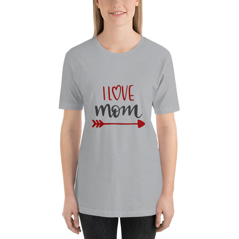 Image of I love mom Women Short-Sleeve T-Shirt Marks'Marketplace Silver S