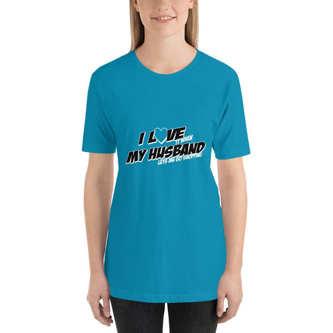 Image of I love my husband Women Short-Sleeve T-Shirt Marks'Marketplace Aqua S