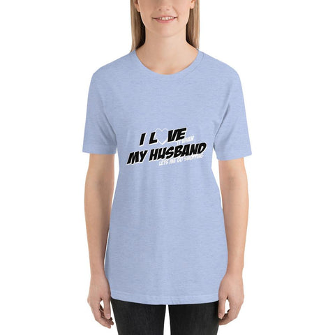Image of I love my husband Women Short-Sleeve T-Shirt Marks'Marketplace Heather Blue S