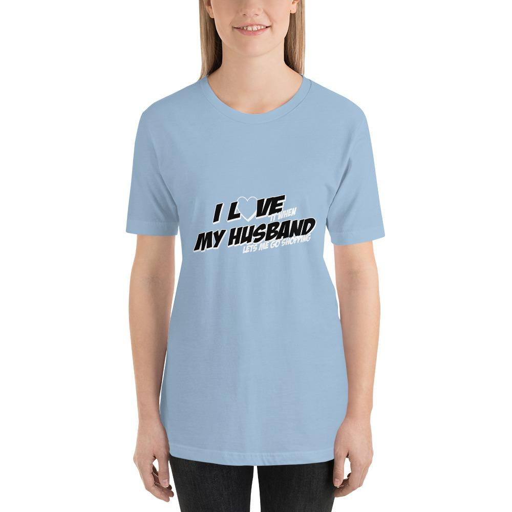 I love my husband Women Short-Sleeve T-Shirt Marks'Marketplace Light Blue XS