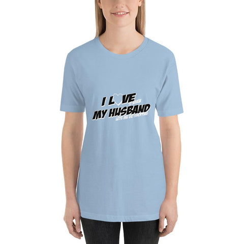 Image of I love my husband Women Short-Sleeve T-Shirt Marks'Marketplace Light Blue XS