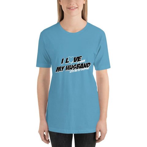 Image of I love my husband Women Short-Sleeve T-Shirt Marks'Marketplace Ocean Blue S