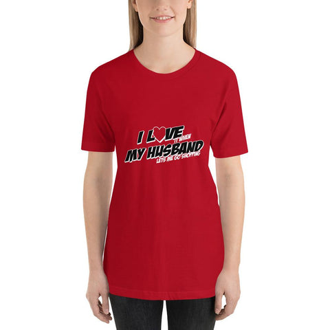 Image of I love my husband Women Short-Sleeve T-Shirt Marks'Marketplace Red S