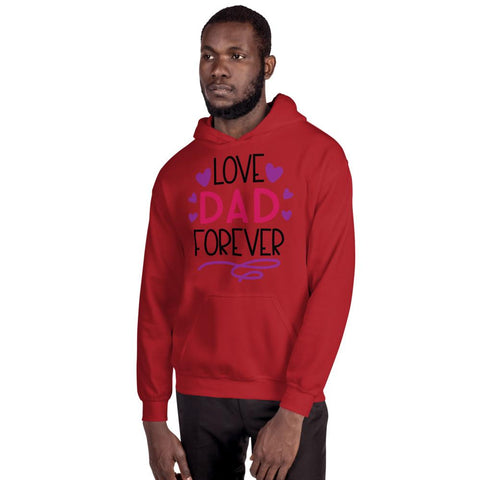 Image of Love Dad Forever Hooded Sweatshirt Marks'Marketplace Red S