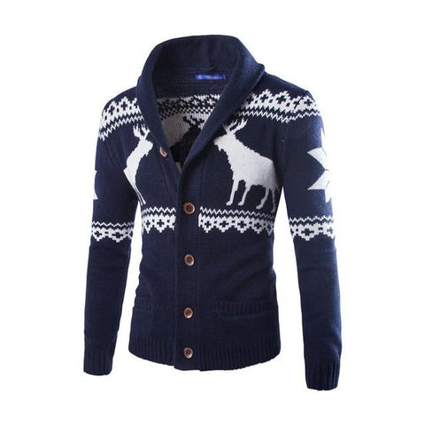 Men's Deer Printed Button Down Christmas Sweater Marks'Marketplace Navy Blue M