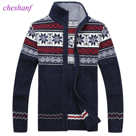 Men's Winter Wool Knitted Zipped Up Christmas Cardigan Marks'Marketplace