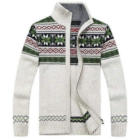 Men's Winter Wool Knitted Zipped Up Christmas Cardigan Marks'Marketplace Beige M