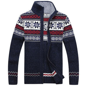 Men's Winter Wool Knitted Zipped Up Christmas Cardigan