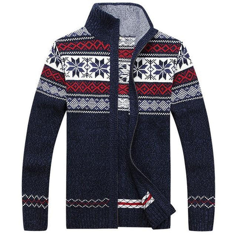 Men's Winter Wool Knitted Zipped Up Christmas Cardigan Marks'Marketplace Blue M