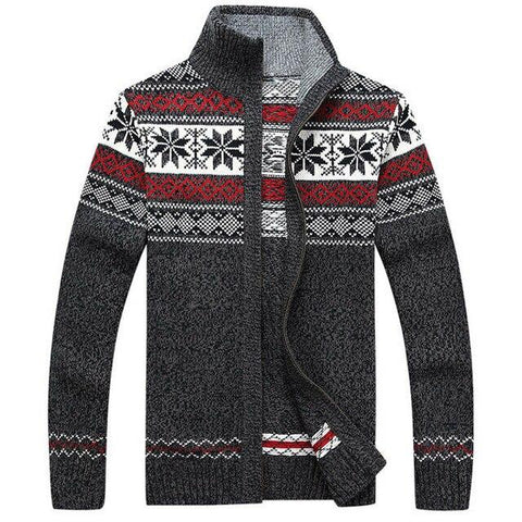 Men's Winter Wool Knitted Zipped Up Christmas Cardigan Marks'Marketplace Gray M