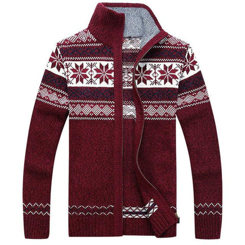 Men's Winter Wool Knitted Zipped Up Christmas Cardigan Marks'Marketplace Red M