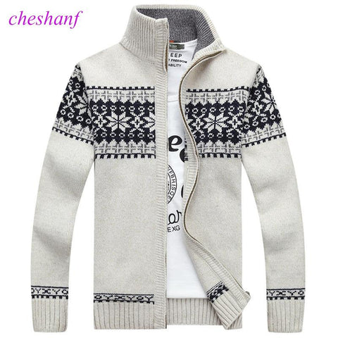 Men's Zip Up Snowflake Print Christmas Sweater Sweater Marks'Marketplace